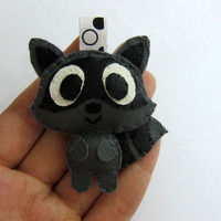 Cute Raccoon Leather Keychain, Ornament, Magnet - Luke, Hazel, Gabby