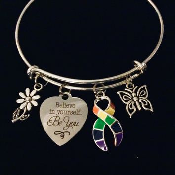 Believe in Yourself Be You Pride Awareness Jewelry Adjustable Charm Bracelet Expandable Silver Bangle One Size Fits All Gift Inspirational