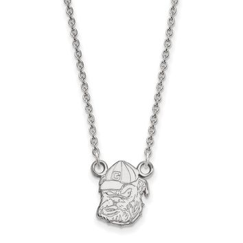 University of Georgia Necklace in Rhodium Flashed Sterling Silver - Cable Chain