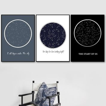 Abstract Star Map Zodiac Constellation Wall Art Canvas Painting Nordic Posters And Prints Wall Pictures For Living Room Decor