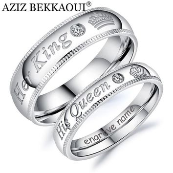 Cool AZIZ BEKKAOUI DIY Engrave Name King & Queen Couple Rings Crown Silver Color Stainless Steel Rings Wedding Jewelry DropshippingAT_93_12