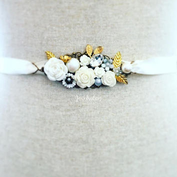 Pearl Wedding Belt, Personalised Bridal Belt, Made to Order, Gold Leaf, White Flower, Ivory, Customised Sash, Country, Rustic, Garden