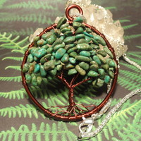 Turquoise Gemstone Tree of Life Necklace by The Wired Fox on Zibbet