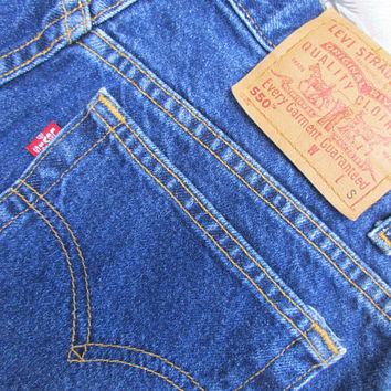 Levis 550 Jeans Womens 1990s Vintage Red Tab Relaxed Fit Tapered Leg High Waist Dark Blue Wash Jeans Wash 90s Fashion Sz 12S