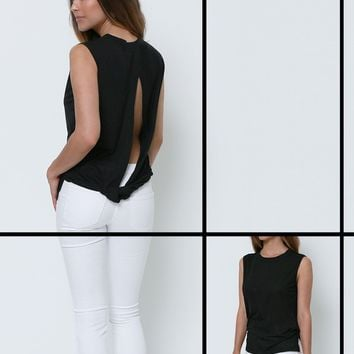 Throwback Sleeveless Top - Black