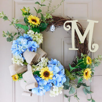 Blue Hydrangea & Sunflower Grapevine Wreath with Burlap. Year Round Wreath. Spring Wreath. Summer Wreath. Monogram Wreath. Door Wreath.