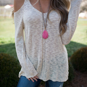 Chill In The Air Cold Shoulder Sweater (Cream)