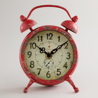 Red Vintage-Style Magnet Clock - World Market