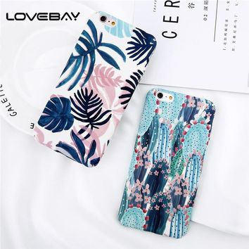 Lovebay Phone Case For iPhone X 8 7 6 6s Plus Cartoon Flower Leaf Cactus Plant Plant Ultra thin Hard PC Cover Cases For iPhone 8
