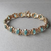 Retro Gold on Sterling Silver Oval Blue Topaz Rhinestone Vintage Vermeil Bracelet