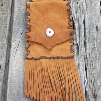 Fringed belt bag , Leather hip bag for your phone , Ready to ship
