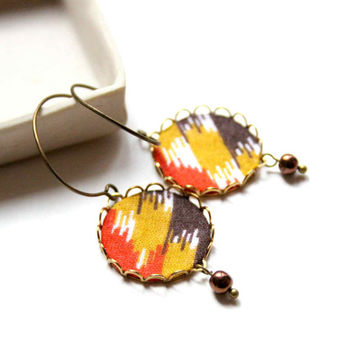 Round Earrings in Yellow, Orange and Brown colors - Colorful Fall