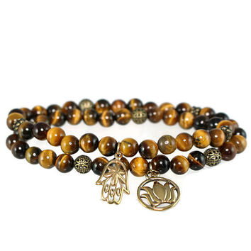 Tiger Eye Stretch Wrap Bracelet with Natural Bronze Hamsa and Lotus Charms