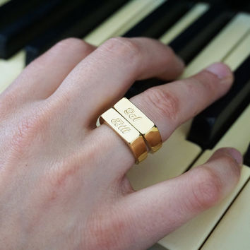 Engraved Ring - Stamp ring, Custom gold ring, Engraved gold ring,  Personalized ring, Name ring, silver engraved ring, Personalized jewelry