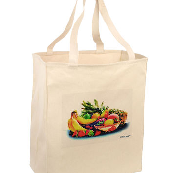 TooLoud Watercolor Fruit Bowl 3 Large Grocery Tote Bag