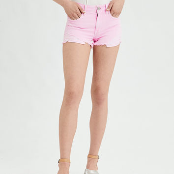 AE Denim X High-Waisted Shortie, Neon Pink