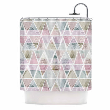 "Michelle Drew ""Triangle Mountains"" Pink Lavendar Shower Curtain"