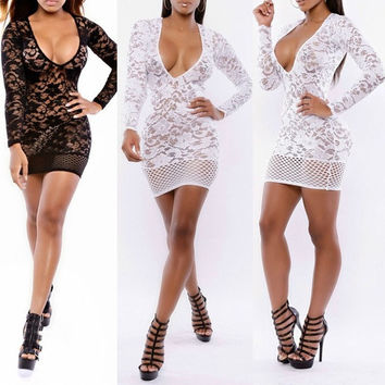 Sexy Deep-V Lace Fishnet Inset Long Sleeves Bodycon Dress Clubwear Evening cocktail bandage = 1956602500