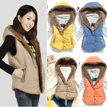 Winter Fashion Women's Fur Hood Cotton Splicing Thick Warm Coat Jacket Vest Waistcoat SV005389 = 1931766660