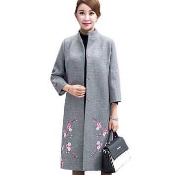 Women Winter Wool Coat Ladies Embroidered Woolen Jacket Overcoat Long Sleeve Cashmere Red Gray Windbreaker Manteau Femme Hiver