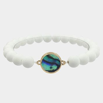 Round Abalone Accented Stretch Bracelet