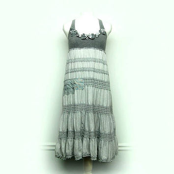 Boho Chic Clothing, Gray Shabby Chic Dress, Free People, Anthropologie, Mori Girl Style Upcycled Clothing by Primitive Fringe