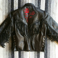 "Vintage 80s 90s Black ""Leather Club"" Fringe + Red Rose Detail Lace Up Side Zip Out Thinsulate Lining Motorcycle Jacket fits S-M (bust 42"")"