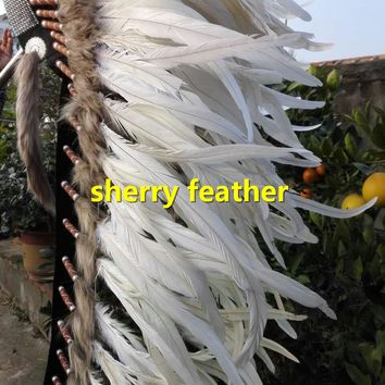 Off white 41inch full high indian feather headdress indian chief warbonnet handmade halloween dancewear supply