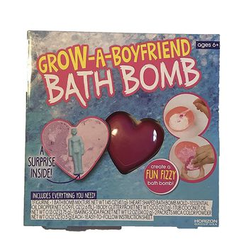 Create A Fun Fizzy Bath Bomb! Choose From Grow-A-Mermaid, Grow-A-Unicorn, Or Grow-A-Boyfriend! Includes Everything You Need! Great Gift For Kids Ages 6+! (Grow-A-Boyfriend)