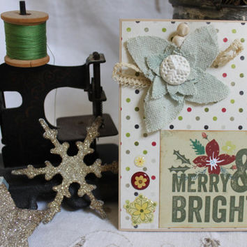"Christmas Card,Handmade,Merry and Bright,4.25x5.5"", Holiday,Original, Vintage Lace,Vintage Buttons,Vintage Ribbon,Grunge Board,Crackle Paint"