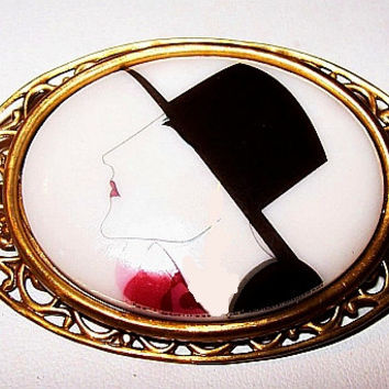 Art Deco Lady Face Brooch Pin Porcelain Hand Painted Brass Filigree Metal Vintage