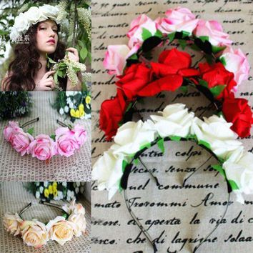 PEAPGC3 Rose Floral Flower Garland Crown Headband Hair Band Bridal Festival Holiday Headwear