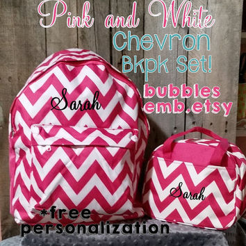 PInk and White Monogrammed Backpack and Lunch Box Set Free Personalization