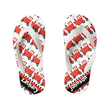 Little Red Caboose Kid's Flip Flops