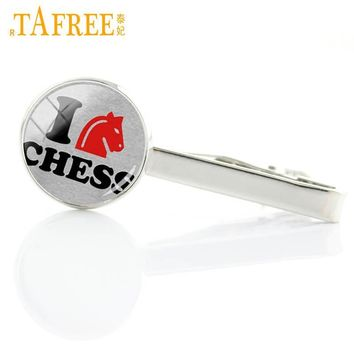 Cool TAFREE Vintage I Love chess tie clips dress acessories black queen white king fashion chess lover men tie pin bar jewelry E582AT_93_12