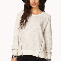 FOREVER 21 Heathered Zip Front Sweatshirt Oatmeal Large