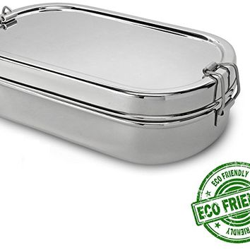 Lifestyle Block Stainless Steel Oval Lunch Box with Inner Snack Box