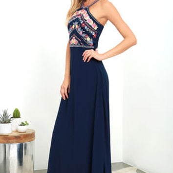 All My Life Navy Blue Embroidered Maxi Dress