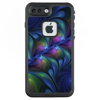 Colorful Luminous Abstract Blue Pink Green Fractal LifeProof® FRĒ® iPhone 7 Plus Case