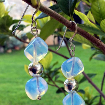 Sterling silver drop earrings with moonstone and silver beads