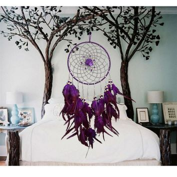 Artistic New fashion Gift Big Purple Dreamcatcher Wind Chimes Indian Style Flower Feather Pendant Dream Catcher Gift Hot Sale