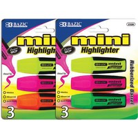 BAZIC MINI FLUORESCENTHIGHLIGHTERS WITH GRIP- 3PK