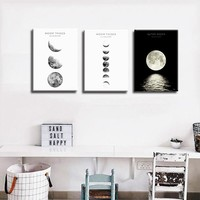 Moon Phases Wall Art Nordic Print and Poster, Canvas Art Paintings for Living Room Decoration, Wall Decor Picture for Bedroom