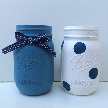 Hand Painted and Distressed Decorative Mason Jars - Set of Two - Blue and White Polka Dots