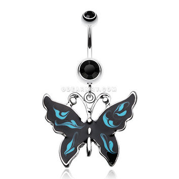 Marble Butterfly Belly Button Ring (Black/Blue)