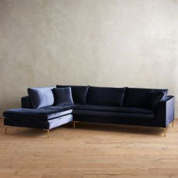 Slub Velvet Edlyn Left Sectional by Anthropologie