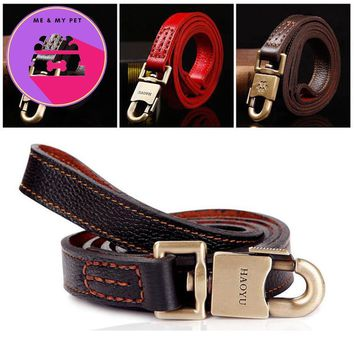 Pet Dog Collar Real Cowhide Strong Safety Copper  Chain Traction rope Handmade Pets Dog Collar Medium Large Dog Pet supplies