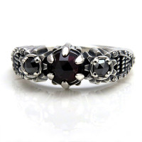 Rose Cut Red Almandine Garnet and Black Diamond Steampunk Ladies Gear Ring - Industrial Engagement