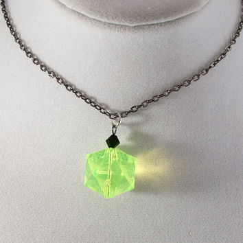Laser Yellow Gamescience D20 Dice Necklace - Polycarbonate Tabletop Gaming Jewelry with Crystal Accents