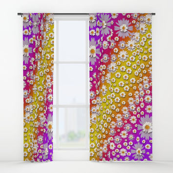 Falling flowers from heaven Window Curtains by Pepita Selles